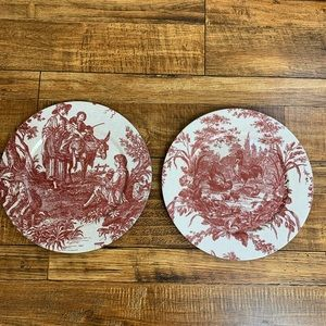 Toile red and white chargers